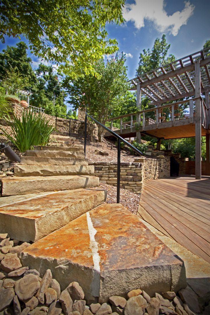 rock stairs garden design residential